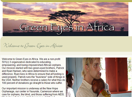 Green Eyes In Africa Home Page